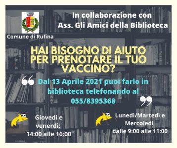 Prenotazione vaccini in Biblioteca a Rufina e in comune a Pontassieve