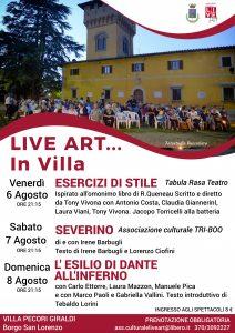 Live art in Villa dal 6 all'8 agosto